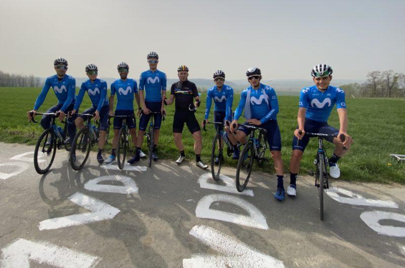 Imagen de la noticia 'Johan Museeuw supports Movistar Team at Ronde van Vlaanderen recon'