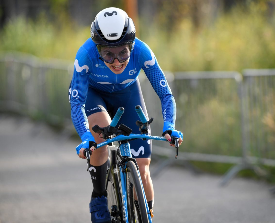 News' image'Lourdes Oyarbide, primera 'movistar' tras la decisiva CRI de Knokke; Guarischi, 3ª en el sprint matutino'